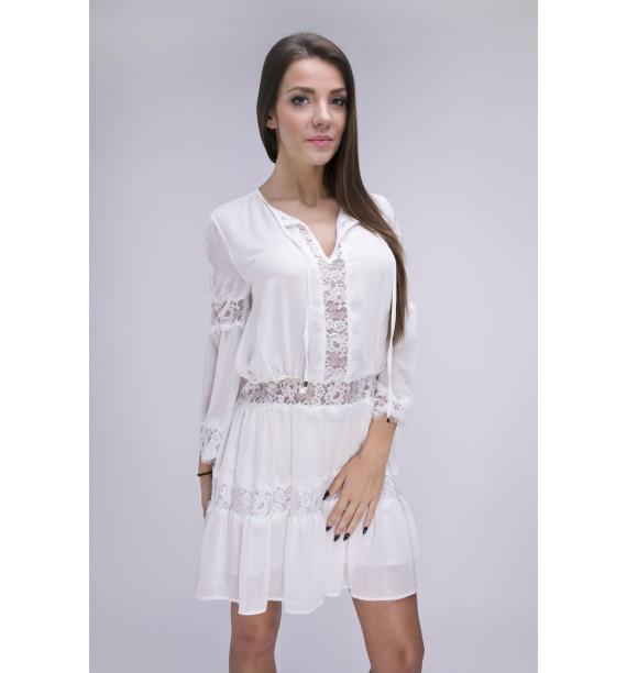 Sukienka biała krótka z koronką