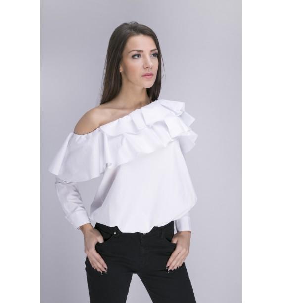 Bluzka biała z asymetrycznym dekoltem