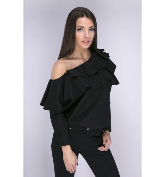 Bluzka czarna z asymetrycznym dekoltem