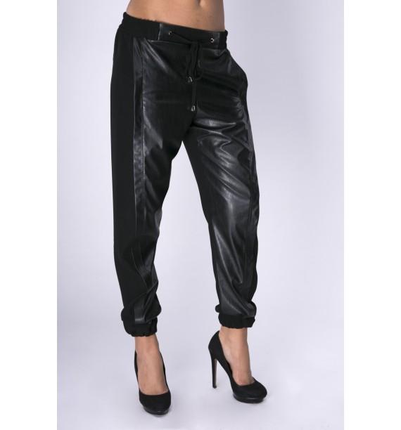 Spodnie czarne z materiłi i skóry ekologicznej