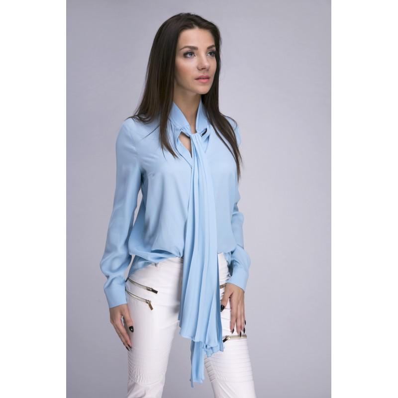 44ae6a1d856273 Bluzka koszulowa z szarfą niebieska - SmartButik.pl