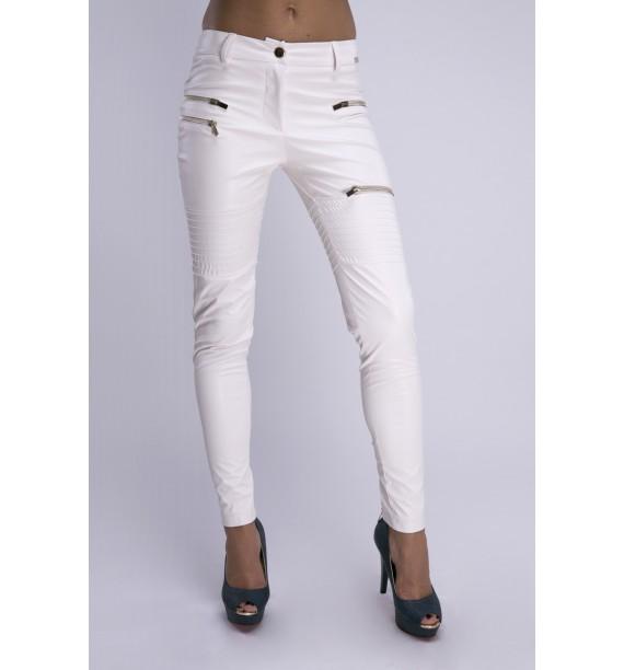 Spodnie ecru ze skóry ekologicznej