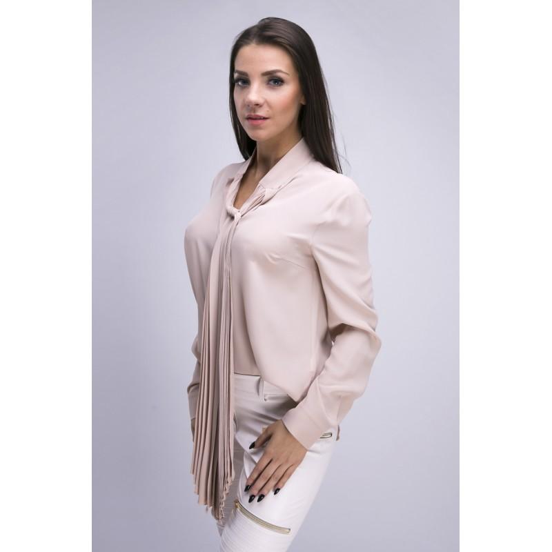 6781b573c39e31 Bluzka koszulowa z szarfą blady róż - SmartButik.pl