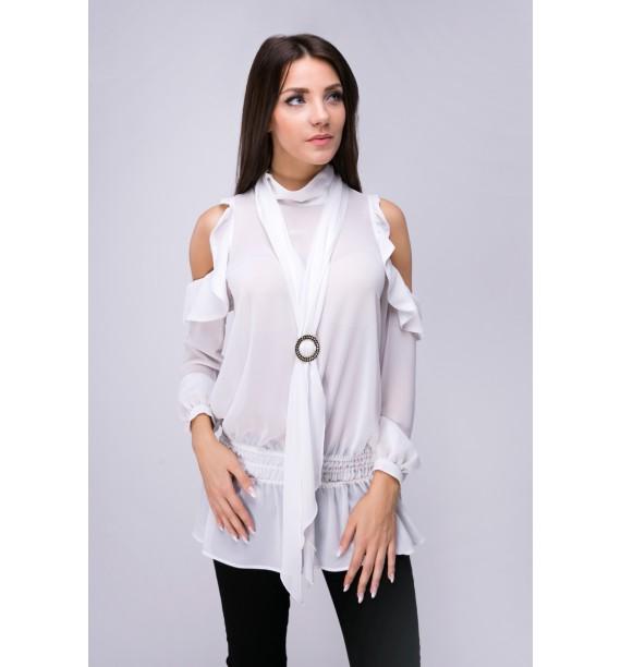 Bluzka z odkrytymi ramionami biała