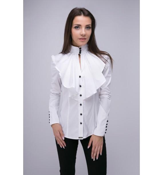 Bluzka damska z żabotem biała