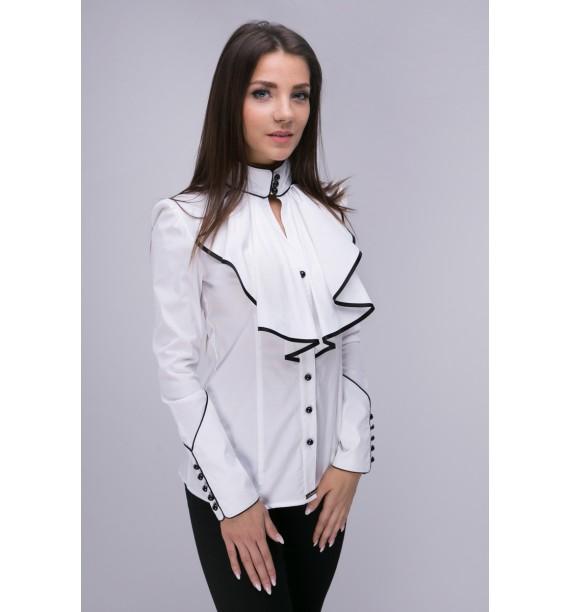 Bluzka damska z żabotem biała z czarnymi wykończeniami