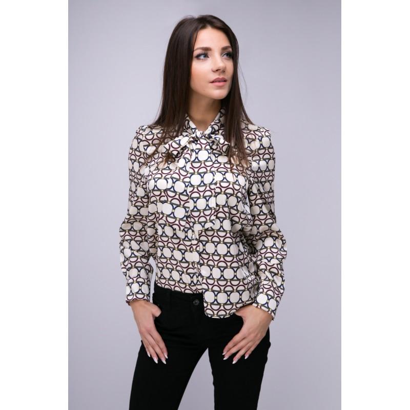 3839e215 Bluzka koszulowa damska z szarfą we wzory - SmartButik.pl