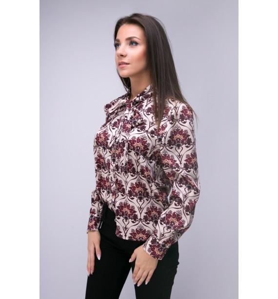 Bluzka koszulowa damska z szarfą we wzory