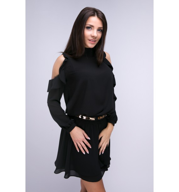 Sukienka krótka z odkrytymi ramionami czarna