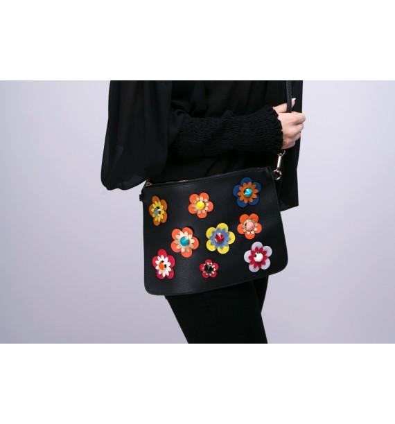 Torebka czarna kopertowa z kolorowymi kwiatami