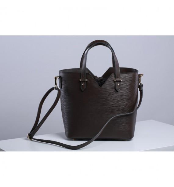 Włoska torebka damska kuferek ze skóry w kolorze czekoladowym