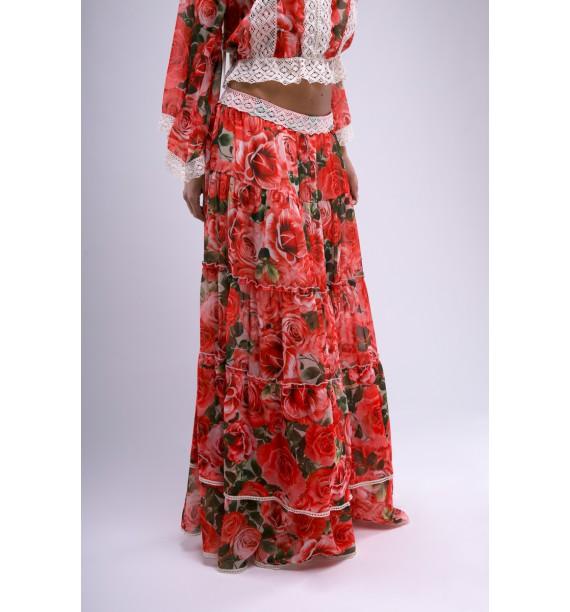 Spódnica długa w kwiaty czerwona