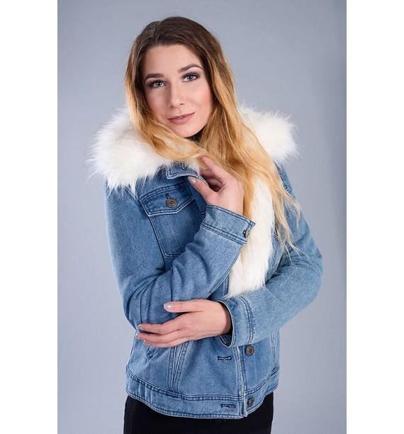 Kurtka jeansowa z białym futrem odpinanym