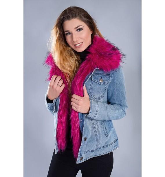 Kurtka jeansowa z różowym futrem odpinanym