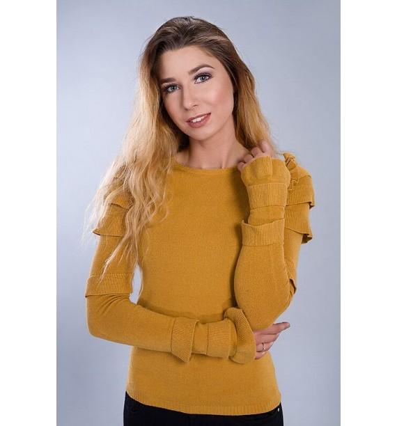 Sweter damski z ozdobnymi r€ękawami musztardowy