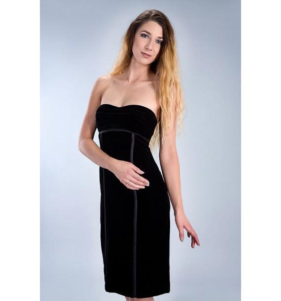 Sukienka czarny velvet gorsetowa krótka