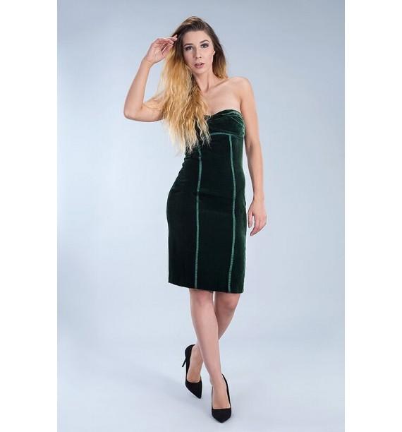 Sukienka krótka velvet ciemna zieleń