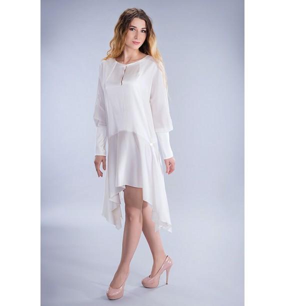 Sukienka jedwabna asymetryczna krótka ecru