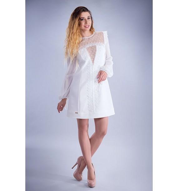 Sukienka krótka trapezowa z koronkowym przodem ecru
