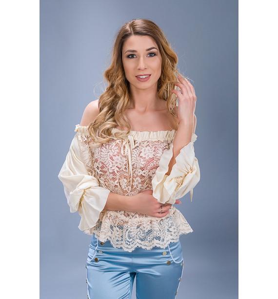 bluzka koronkowa typu hiszpanka beżowa