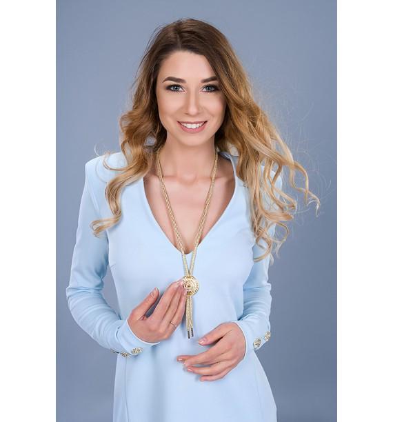Sukienka krótka z długim rękawem błękitna