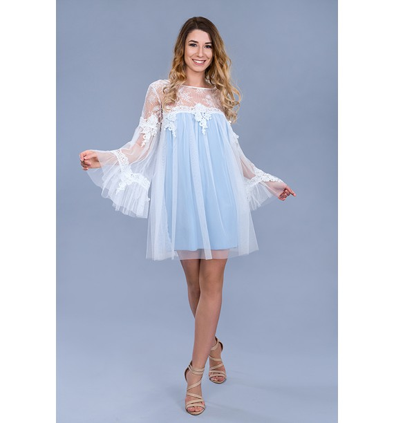 Sukienka tiulowa krótka błękitna