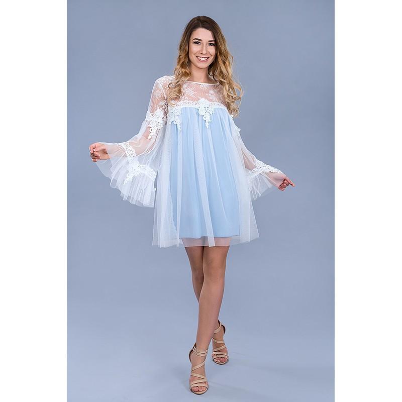 c8477045 Sukienka tiulowa krótka błękitna - SmartButik.pl