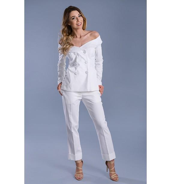 Spodnie z mankietami o długości 7/8 białe