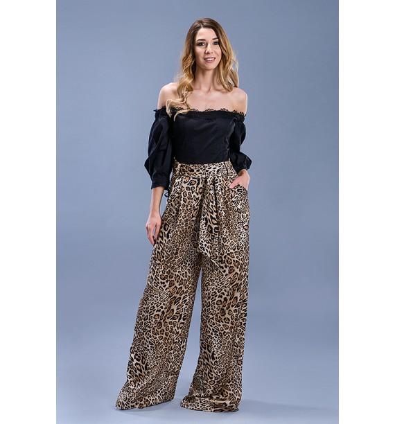 Spodnie szerokie w panterkę