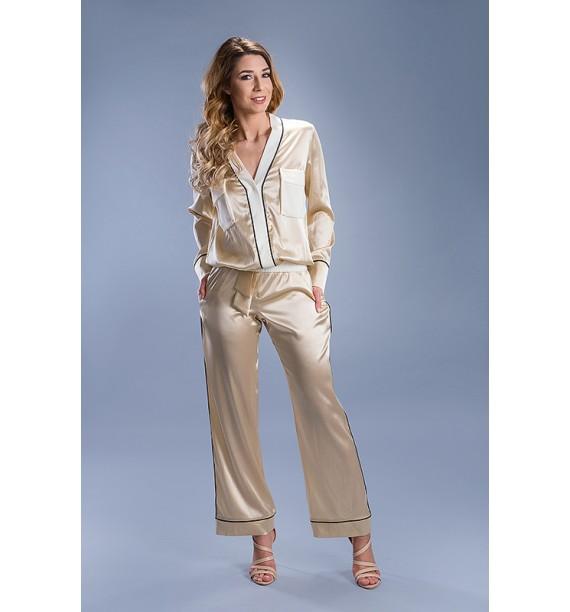 Komplet spodnie z bluzką złoty