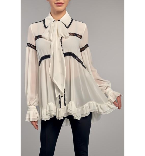 Bluzka biała z kolnierzykiem i szarfą pod szyją