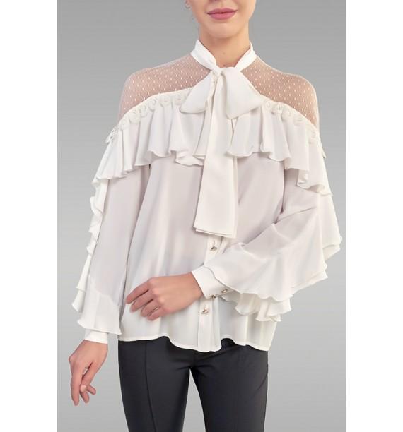 Bluzka z szarfą biała