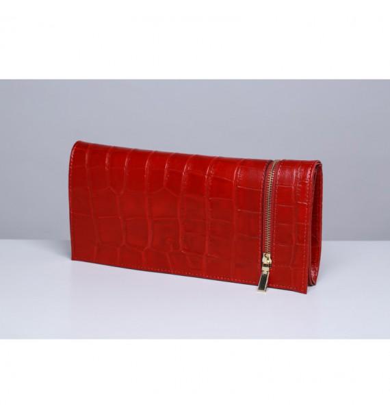 Torebka damska włoska kopertówka ze skóry naturalnej czerwona