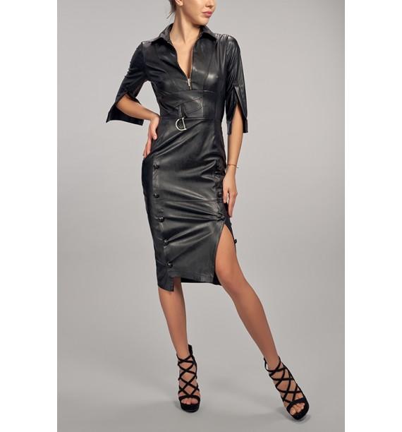 sukienka eco skóra krótka czarna dopasowana