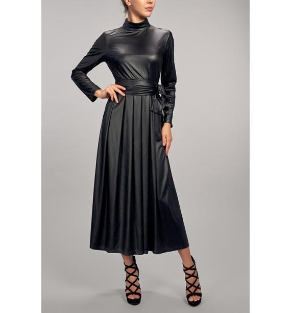 Sukienka długa eko skora czarna