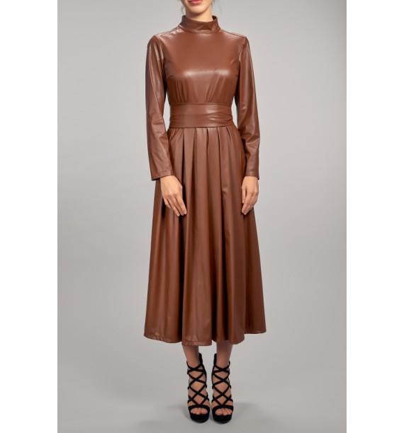 Sukienka długa eko skóra brązowa
