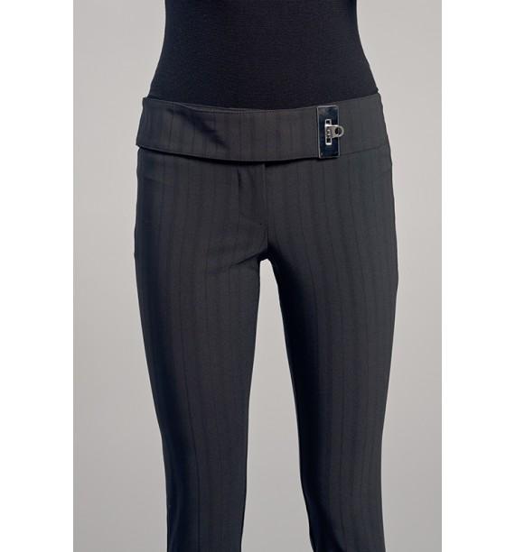 Spodnie damskie czarne w prążki