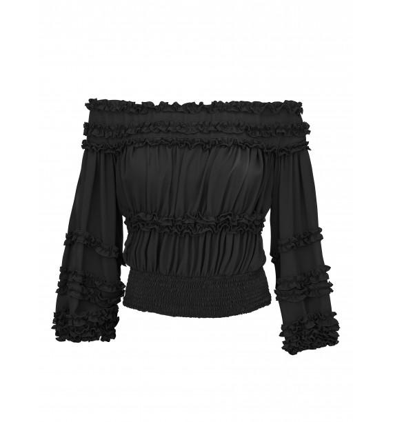 Bluzka hiszpanka czarna z falbankami