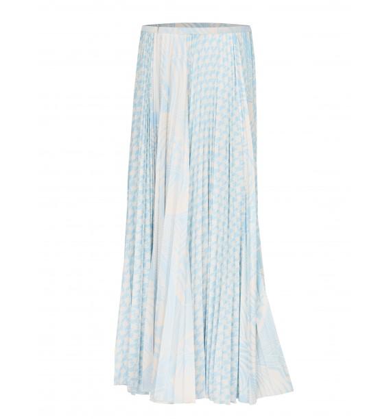 Spódnica długa plisowana błeęitno biała