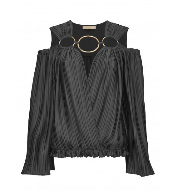 Bluzka plisowana z ozdobnymi kołami czarna