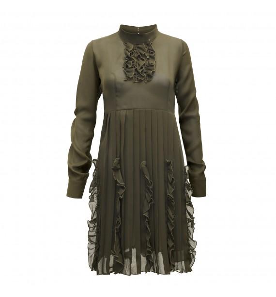 Sukienak krótka khaki z żabotem pod szyją