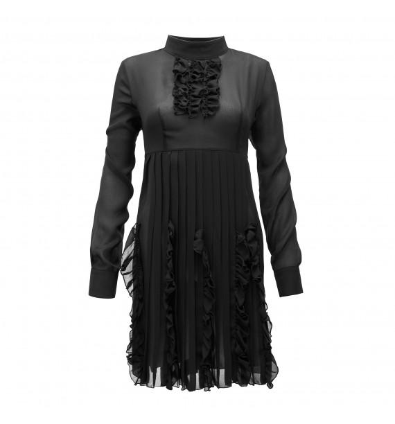 Sukienka krótka czarna z żabotem pod szyją