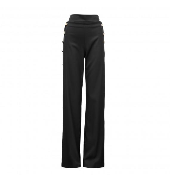 Spodnie szerokie ze złotymi guzikami czarne