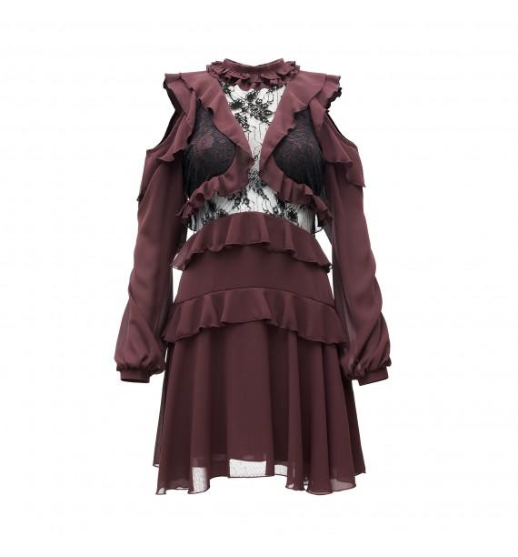 Sukienka krótka z czarną koronką i odkrytymi ramionami bordowa