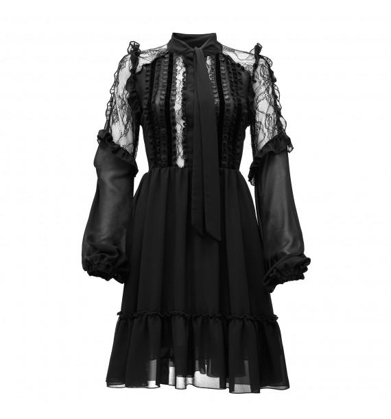 Sukienka z falbanami, szarfą wokół szyi i koronkowymi rękawami czarna