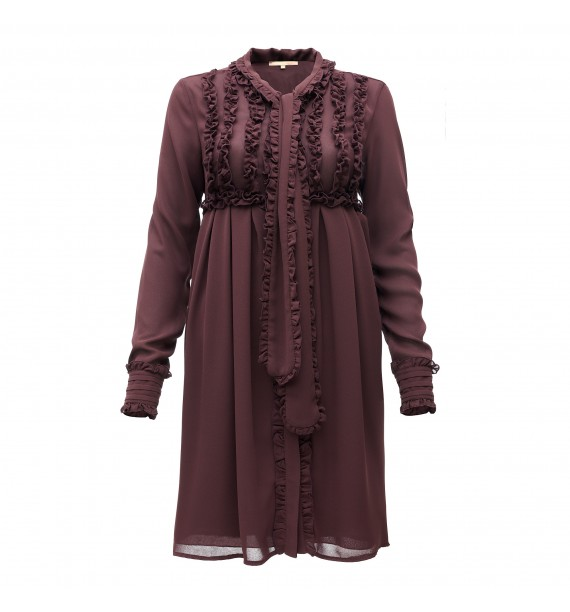 Sukienka krótka z szarfą zapinana na guziki bordowa