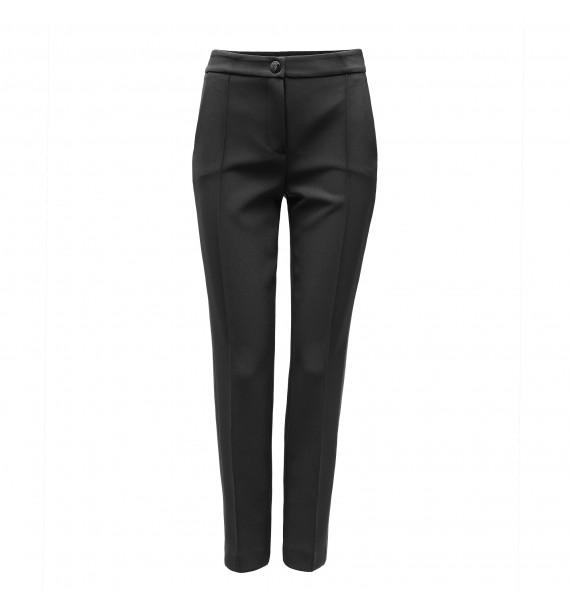 Spodnie damskie czarne z czarnym lampasem