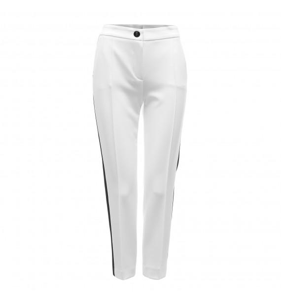 Spodnie damskie białe z czarnym lampasem