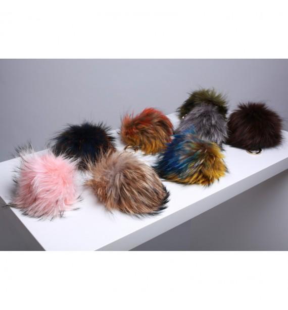 Pompony duże kolorowe z futra wilka
