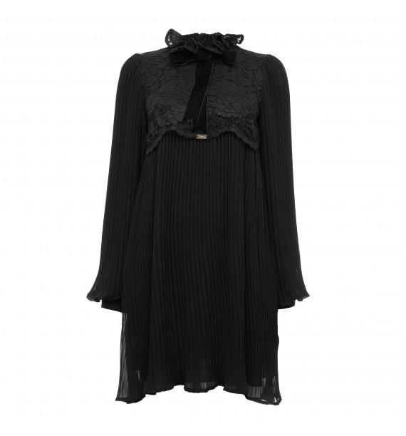 Sukienka krótka plisowana czarna